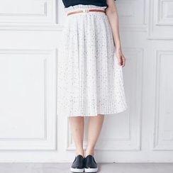 BAIMOMO - Accordion-Pleat Dotted Chiffon Midi Skirt