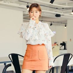 HOTPING - Tie-Front Floral Print Top