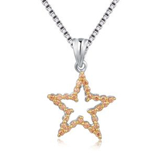 MBLife.com - 925 Sterling Silver Lucky Golden Star with CZ Necklace (16')