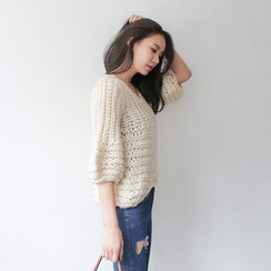 WITH IPUN - V-Neck Elbow-Sleeve Chunky-Knit Sweater