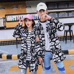 Esflow - Couple Matching Print Long Jacket
