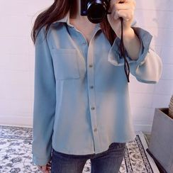 Queen Bee - Plain Long-Sleeve Blouse