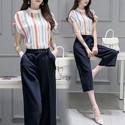 Ashlee - 套装: 条纹盖袖衬衫 + 八分裤