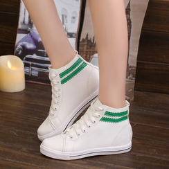 Yoflap - Contrast Trim Hidden Wedge Sneakers