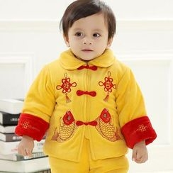 Snow Dragon - 童裝套裝: 中式外套 + 背帶牛仔褲