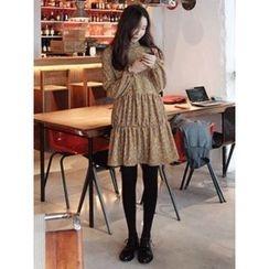 maybe-baby - Mock-Neck Pattern Dress