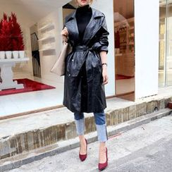 DABAGIRL - Faux-Leather Trench Coat with Sash