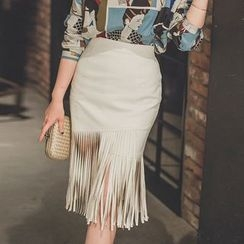 Gl.bY - Fringed Pencil Skirt