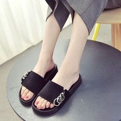 QQ Trend - Metal Ring Detail Slide Sandals
