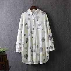 Blue Rose - Printed Linen Shirt