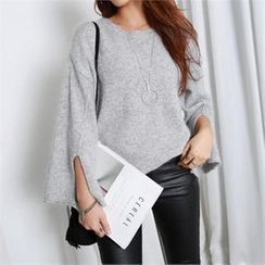 PIPPIN - Wide-Sleeve Slit-Detail Wool Blend Knit Top