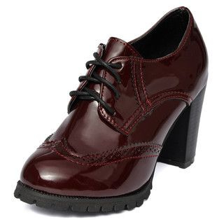 yeswalker - Patent Lace-Up Wingtip High Heels