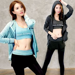 REALLION - Set: Sport Hooded Zip Jacket + Sport Bra Top + Legging Inset Sport Shorts