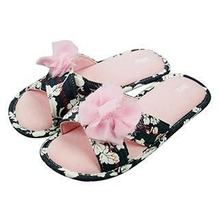 Betta - Ladies Open Toes Slippers (Denim with Chiffon Flowers)