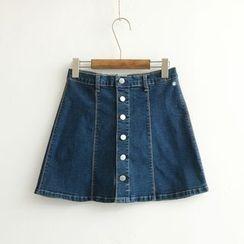 Dia Monde - Button Down A-Line Mini Denim Skirt