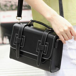 SUOAI - Faux-Leather Push-Lock Satchel