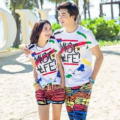 Sunset Hours - Couple Matching Print Short-Sleeve T-Shirt / Beach Shorts