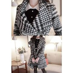 MyFiona - Stand-Collar Houndstooth Wool Blend Coat