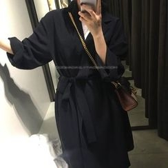 Eva Fashion - Tie Waist Plain Long Jacket