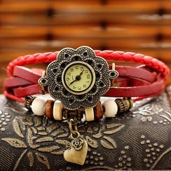 Miss Girl - Genuine Leather Beaded Bracelet Watch