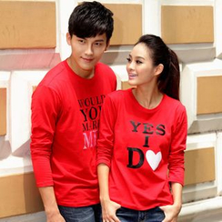 Porspor - Couple Matching Long-Sleeve Lettering T-Shirt