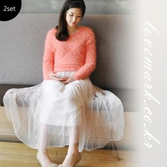 lovemark - Set: Furry Knit Top + Tulle Maxi Skirt