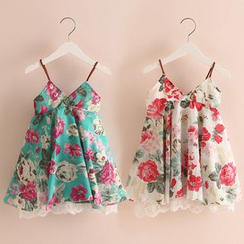 Seashells Kids - Kids Floral Print Spaghetti-Strap Dress