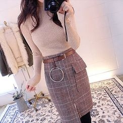 chuu - Set: Knit Top + Glen-Plaid Asymmetric Skirt with Belt