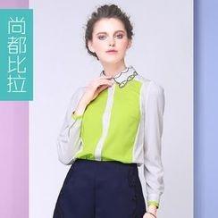 Sentubila - Embroidered Collar Two-Tone Chiffon Blouse