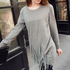 anzoveve - Fringed Long Knit Top