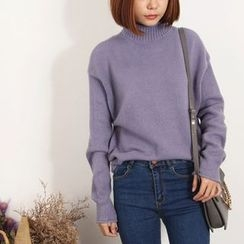 兰芝 - 纯色小高领毛衣