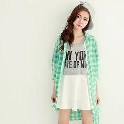 Tokyo Fashion - Dip-Back Check Sheer Long Shirt