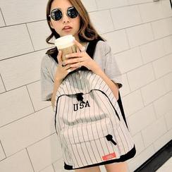 Seok - 细条纹字母帆布背包