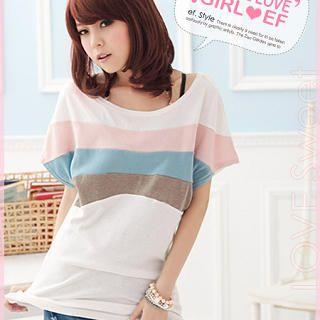 EF Shop - Boat-Neck Short-Sleeve T-Shirt