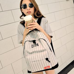 Seok - Pinstriped Lettering Canvas Backpack
