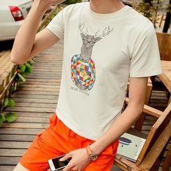 JVR - Deer Print Short-Sleeve Crewneck T-Shirt