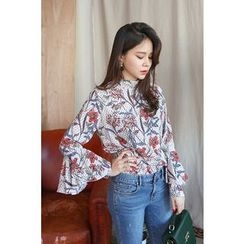 PPGIRL - Bell-Sleeve Floral Print Top