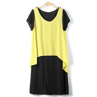 9mg - Color-Block Layered Chiffon Dress
