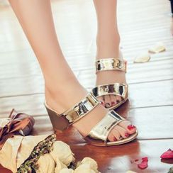Vivid Dream - Chunky Heel Slide Sandals