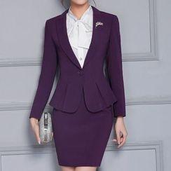 Caroe - Set: Tie-Neck Dress Shirt + Blazer + Pencil Skirt