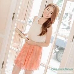 OrangeBear - Laced Collar Sleeveless Dress