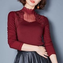 Ekim - Embellished Panel Fleece-lined Long-Sleeve Top