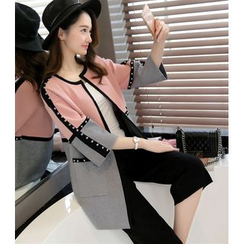 Shomez - Studded Two-Tone Long Cardigan
