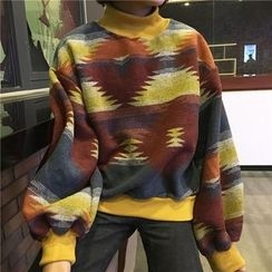 Cattie - Patterned Mock Neck Pullover