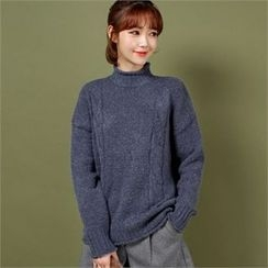 Styleberry - Mock-Neck Cable-Knit Sweater