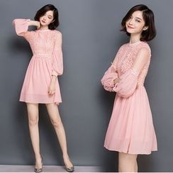 EFO - Lace-Panel A-Line Dress