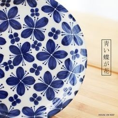 house on map - Hand Painted Butterfly Plate