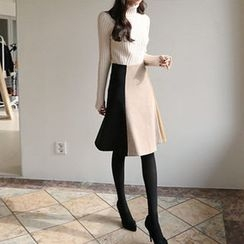 Hello sweety - Color-Block A-Line Skirt