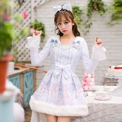 Candy Rain - Printed Furry Trim Bow Accent Long Sleeve Dress