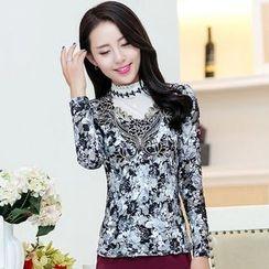 Saranghae - Long-Sleeve Floral T-Shirt